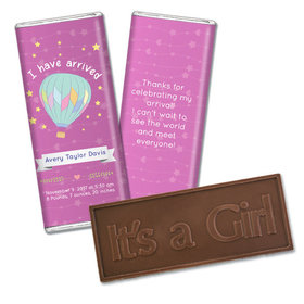 Personalized Girl Birth Announcement I Have Arrived Embossed Chocolate Bar & Wrapper