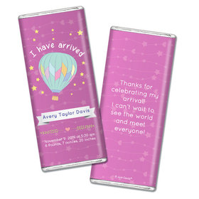Personalized Girl Birth Announcement I Have Arrived Chocolate Bar & Wrapper