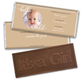 Personalized Hello World Baby Girl Birth Announcement Hershey's Embossed Chocolate Bar & Wrapper