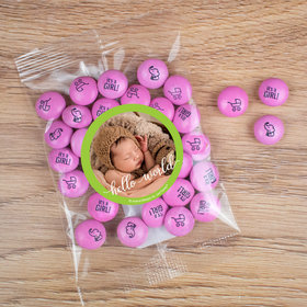 Personalized Girl Birth Announcement Candy Bag with JC Chocolate Minis - Hello World