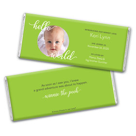 Personalized Hello World Baby Girl Birth Announcement Hershey's Chocolate Bar & Wrapper
