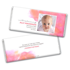 Personalized Elegant Watercolor Baby Girl Birth Announcement Hershey's Chocolate Bar & Wrapper