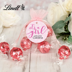 Personalized It's a Girl Lindt Truffle Organza Bag