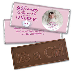 Personalized Pandemic Baby Girl Birth Announcement Embossed Chocolate Bars