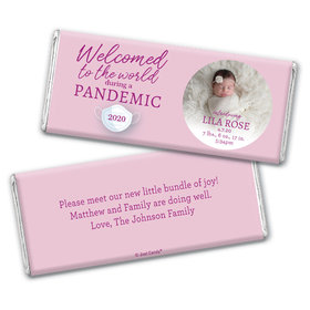 Personalized Pandemic Baby Girl Birth Announcement Chocolate Bar Wrappers Only