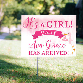 Personalized It's a Girl Yard Sign - Oh Girl! Stork