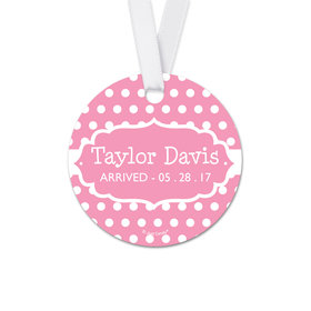 Personalized Baby Girl Tiny Dots Announcement Round Favor Gift Tags (20 Pack)