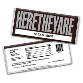 "Baby Girl Announcement Personalized Chocolate Bar HERETHEYARE ""Here They Are"" Twins"