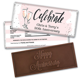 Cheers to the YearsEmbossed Happy Anniversary Bar Personalized Embossed Chocolate Bar Assembled