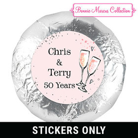 Cheers to the Years Anniversary Favors 1.25in Stickers