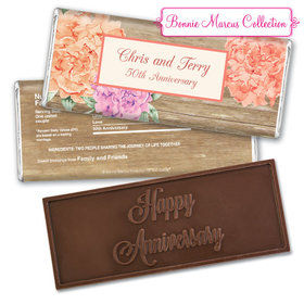 Blooming JoyEmbossed Happy Anniversary Bar Personalized Embossed Chocolate Bar Assembled