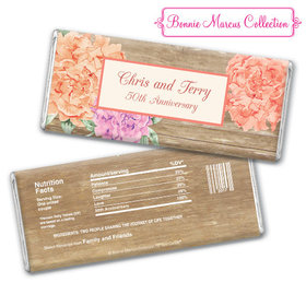 Bonnie Marcus Collection Personalized Chocolate Bar Chocolate and Wrapper Blooming Joy Anniversary Party Favor