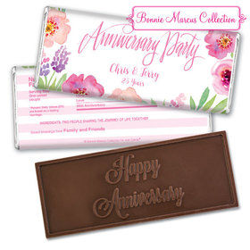 Bonnie Marcus Collection Personalized Embossed Chocolate Bar Chocolate & Wrapper Floral Embrace Anniversary Favors