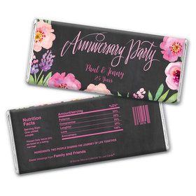 Floral Embrace Anniversary Favors Personalized Candy Bar - Wrapper Only
