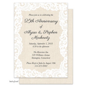 Bonnie Marcus Collection Personalized Linen Lace Anniversary Party Invitation
