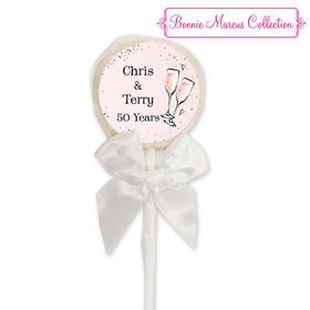 Bonnie Marcus Collection Personalized White Lollipop Cheers to the Years Anniversary Favor (24 Pack)