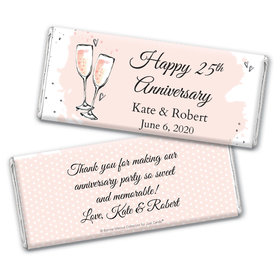 Personalized Bonnie Marcus Chocolate Bar Wrappers Only - Anniversary Bubbly Party Pink