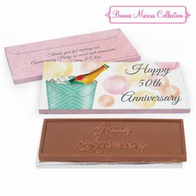 Deluxe Personalized Champagne Bucket Anniversary Embossed Chocolate Bar in Gift Box