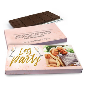 Deluxe Personalized Champagne Party Anniversary Chocolate Bar in Gift Box (3oz Bar)