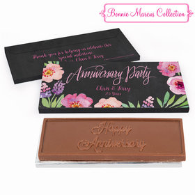 Deluxe Personalized Floral Embrace Anniversary Embossed Chocolate Bar in Gift Box
