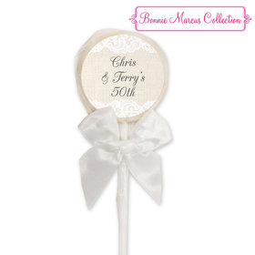 Bonnie Marcus Collection Lace & Burlap Personalized White Lollipop (24 Pack)