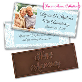 Personalized Bonnie Marcus Embossed Chocolate Bar & Wrapper - Anniversary Lace Linen