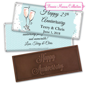 Personalized Bonnie Marcus Embossed Chocolate Bar & Wrapper - Anniversary Bubbly Party Blue