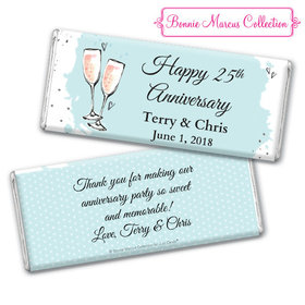 Personalized Bonnie Marcus Chocolate Bar & Wrapper - Anniversary Bubbly Party Blue