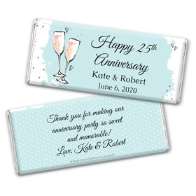 Personalized Bonnie Marcus Chocolate Bar Wrappers Only - Anniversary Bubbly Party Blue