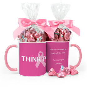 Personalized Breast Cancer Awareness Pink Power 11oz Mug with Hershey's Kisses