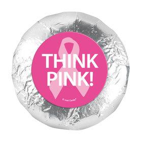 """Personalized Bonnie Marcus 1.25"""" Stickers - Breast Cancer Awareness Simply Pink (48 Stickers)"""