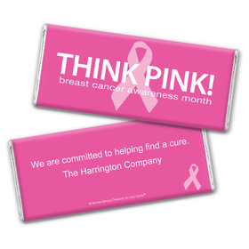 Personalized Bonnie Marcus Chocolate Bar Wrappers Only - Breast Cancer Awareness Simply Pink