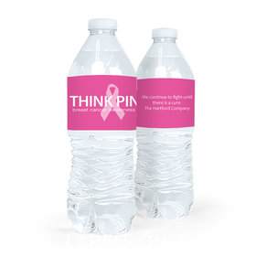 Personalized Bonnie Marcus Breast Cancer Awareness Simply Pink Water Bottle Sticker Labels (5 Labels)