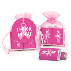 Personalized Breast Cancer Awareness Think Pink Hershey's Miniatures in Organza Bags with Gift Tag