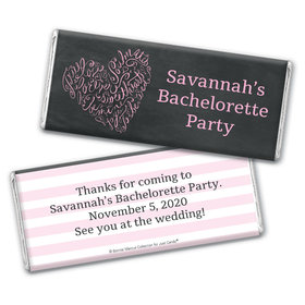 Sweetheart Swirl Bachelorette Party Personalized Candy Bar - Wrapper Only