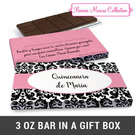 Deluxe Personalized Bonnie Marcus Quinceañera Black & White Pattern Chocolate Bar in Gift Box (3oz Bar)