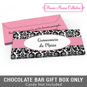 Deluxe Personalized Bonnie Marcus Quinceaera Black & White Pattern Candy Bar Favor Box