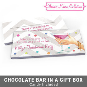 Deluxe Personalized Here's to You Bachelorette Party Chocolate Bar in Gift Box