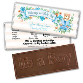 Story Time Embossed It's a Boy Bar Personalized Embossed Chocolate Bar Assembled