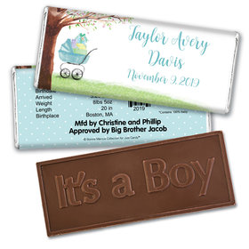 Bonnie Marcus Collection Personalized Embossed Chocolate Bar Chocolate and Wrapper Rockabye Baby Boy Birth Announcement