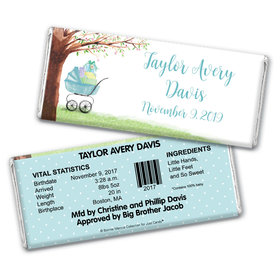 Rockabye Baby Boy Birth Announcement Personalized Candy Bar - Wrapper Only