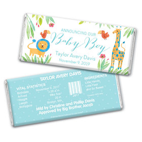 Safari Snuggles Boy Birth Announcement Personalized Candy Bar - Wrapper Only