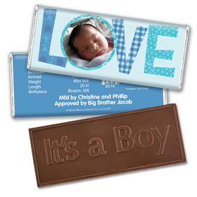Bonnie Marcus Collection Personalized Embossed It's a Boy Bar and Wrapper Patterned Love Boy Birth Announcement