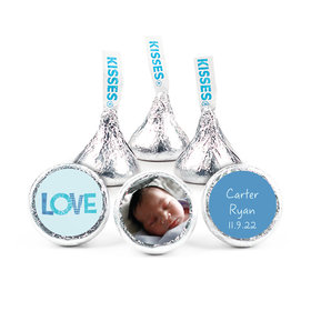"""Bonnie Marcus Collection Personalized 3/4"""" Sticker Patterned Love Boy Birth Announcement"""