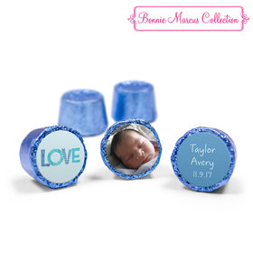 Bonnie Marcus Collection Personalized Blue Rolos Patterned Love Boy Birth Announcement (50 Pack)
