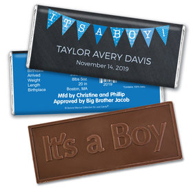 Bonnie Marcus Collection Personalized Embossed It's a Boy Bar and Wrapper It's a Boy Banner Boy Birth Announcement