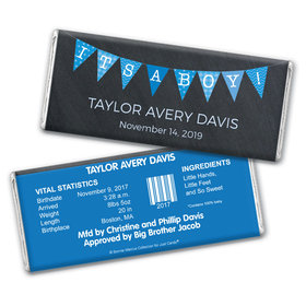 Bonnie Marcus Collection Personalized Chocolate Bar and Wrapper with Gold Foil It's a Boy Banner Boy Birth Announcement