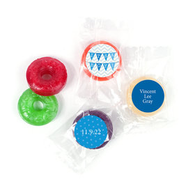 Bonnie Marcus Personalized LifeSavers 5 Flavor Hard Candy and Wrapper Chevron Banner Boy Birth Announcement (300 Pack)