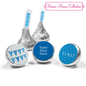 Bonnie Marcus Collection Personalized HERSHEY'S KISSES Candy and Wrapper Chevron Banner Boy Birth Announcement (50 Pack)