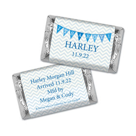 Bonnie Marcus Collection Personalized Chocolate Bar and Wrapper Chevron Banner Boy Birth Announcement
